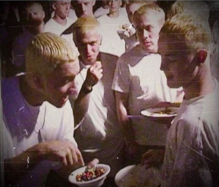 Eminem sharing M&Ms with the other Eminems