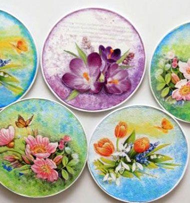 Decoupage CD spring wall art // Tavaszi faliképek CD lemezekből ( decoupage technikával ) // Mindy - craft tutorial collection // #crafts #DIY #craftTutorial #tutorial #Decoupage #Dekupázs #Szalvétatechnika #ModPodgeCrafts