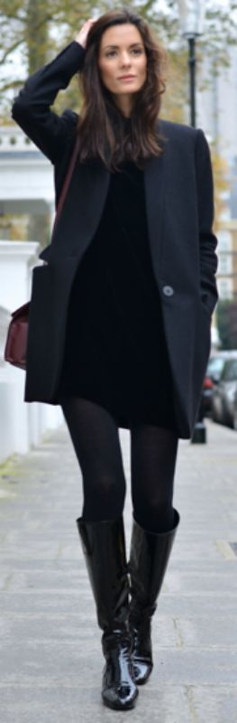 Hedvig Sagfjord Opshaug + little black velvet dress + fall + tights + boots + chic black coat.  Dress: Cos, Boots: Saint Laurent, Coat: Stella McCartney, Tights: Falk, Bag: Balenciaga, Earrings: Annelise Michelson