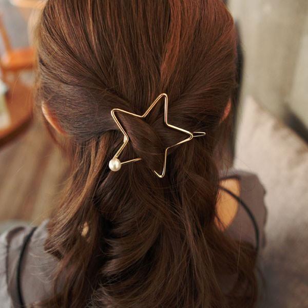 Star Hair Clip with Pearl Detail