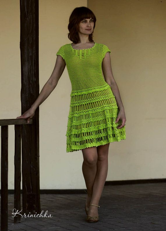 Ausgestellte Rock Kleid Kleid Farbe Lime neuen Look von krinichka