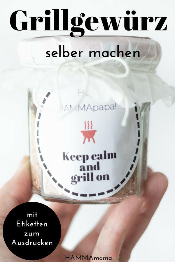 Der Sommer kommt, schnell noch ein sauleckeres Grillgewürz selber machen! ° Ein Top-Geschenk (zum Vatertag) mit schönen Etiketten zum Drucken