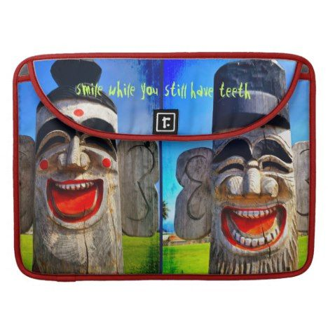 """""""Smile"""" Quote Fun Laughing Teeth Wood Face Photo Sleeve For MacBook Pro #laptop #computer #ipad #mac #sleeve #bags #modern #colorful"""