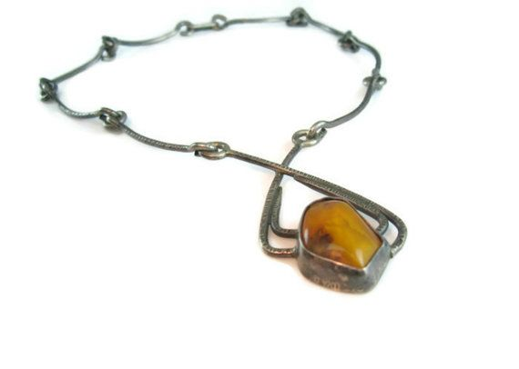 Amber Necklace. Baltic Amber. Modernist Signed ORNO Poland. Handmade Silver…