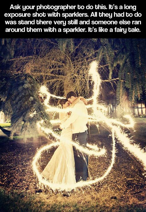 It's a long exposure shot with sparklers. All they had to do is stand very still and someone ran around them with a sparkler. Very cool!!