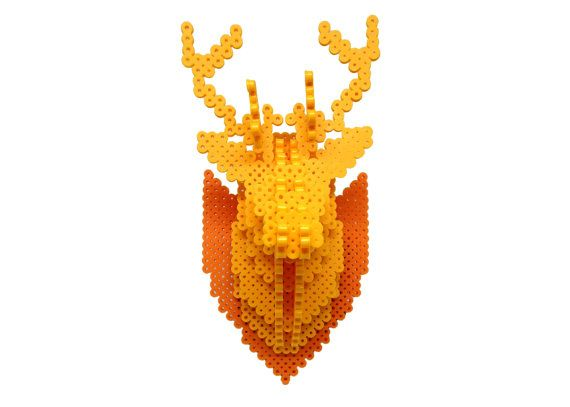 Deer Head 3d Perler Bead Puzzle Wall Decor Door Mizgvusdesigns Patronen