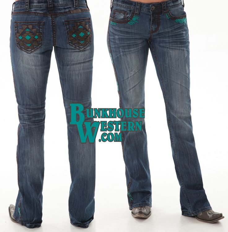@cowgirltuffco Turquoise Haven Jeans, Turquoise & Brown Stitching, Rodeo Gear, Western Clothing, Barrel Racing Apparel, Cowgirl Tuff, $94.99, http://bunkhousewestern.com/TQH