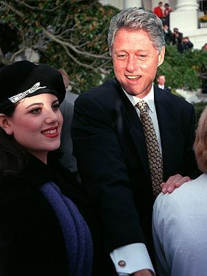 INTERN ORIENTATION - President Bill Clinton welcomes Monica Lewinski to The White House.
