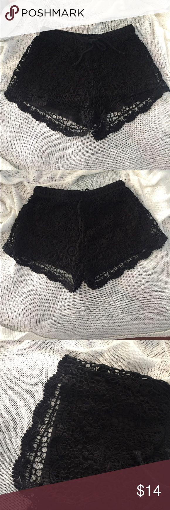 Black Crochet Shorts Black Corchet shorts with inner shorts, perfect for the summer! Full Tilt Shorts