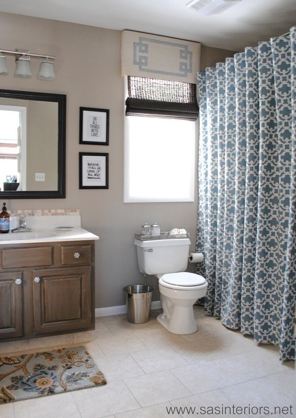 DIY blue and white patterned shower curtain