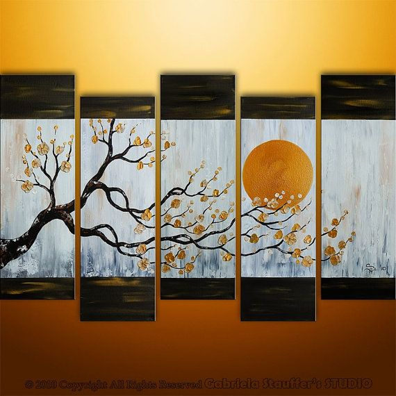CUSTOM PAINTING Abstract Modern Asian Zen Blossom Tree Landscape Painting Original Art by Gabriela 50x30, $279.00