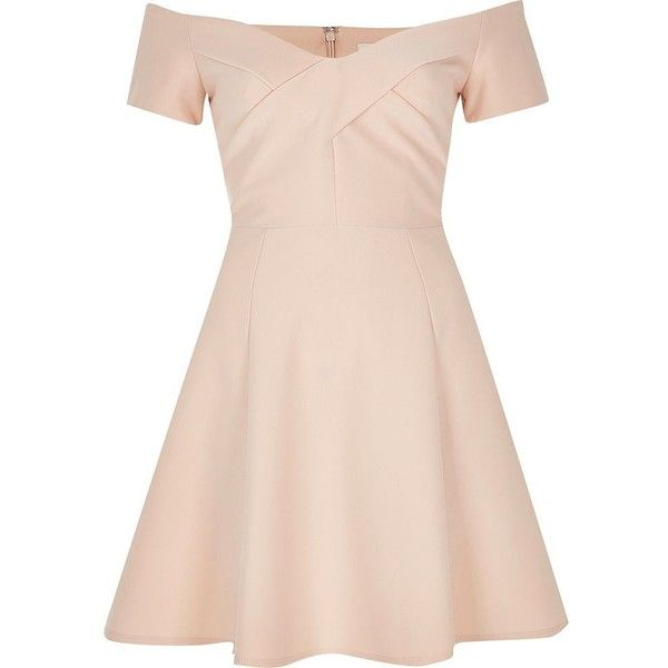 River Island Light pink bardot skater dress ($58) ❤ liked on Polyvore featuring dresses, pink, skater skirt, flare dress, off shoulder dress, off the shoulder dress and pink skater dress