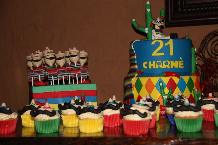 The full picture - Mexican theme cake, cupcakes and cake pops by #Jeanette's Cake Creations