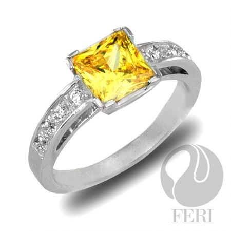 """- Exclusive FERI 950 Siledium silver - Exclusive dual natural rhodium and palladium plating - Set with exclusive FERI Swan cut lab stones - Colour: white and gold - Dimensions: 7mm x 7mm (0.3"""" x 0.3"""") Top of ring."""