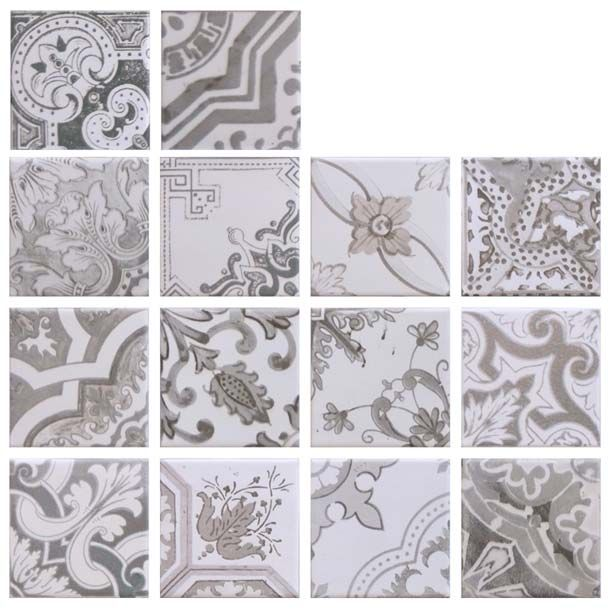 The Nikea Sephia Tile is a set of grey tiles and has a total of 14 patterns which measures 10cm x 10cm per tile (4 inch x 4 inch).  A wall or floor tile and is a mixture of vintage Victorian tile design prints with a Matt finish.  Manufactured by Yurtbay Seramik.