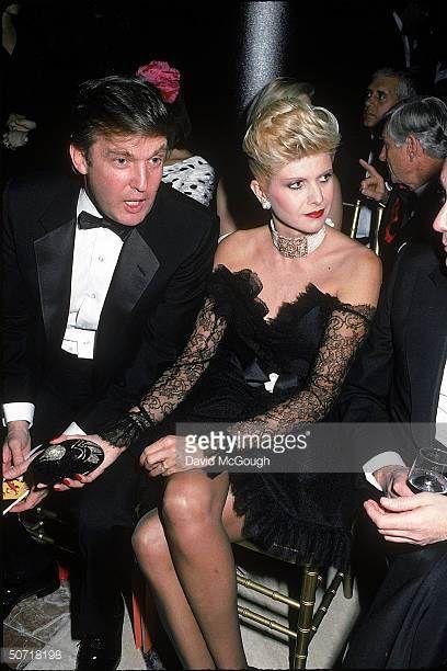 Real estate developer Donald Trump chatting w wife Ivana