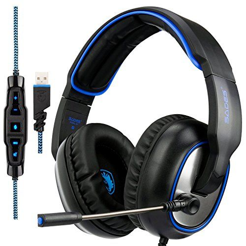 cool SADES R7 Gaming Headset, USB Headset Stereo Over-ear Gaming Headphones Supports Virtual S.B-Channel Surround Sound with Retractable Microphone EQ Bass Boost Button LED Backlit for PC & Mac(Black)