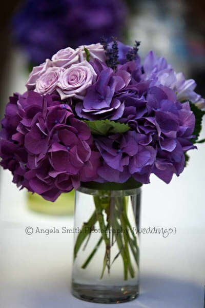 purple hydrangea, lavender, wedding table center  www.BellaBloomFlorals.com