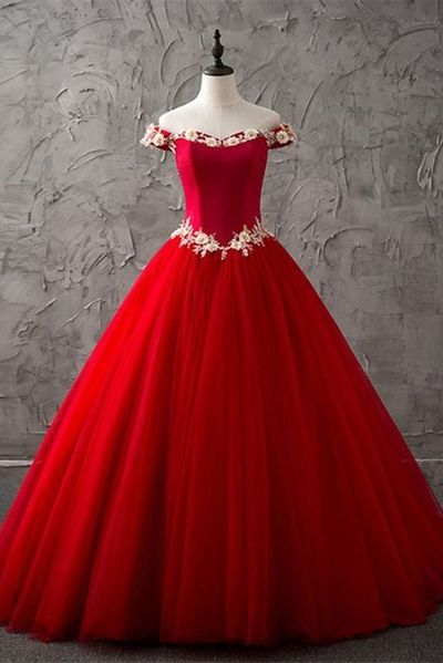 4100bb249c8 Princess red tulle off shoulder sweetheart long high neck evening dress  with white lace flower