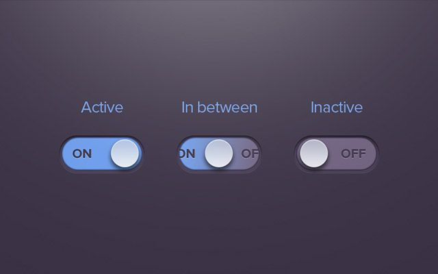 Here are a stylish on/off radio button created with vector shapes. Free PSD released by Barry Mccalvey.
