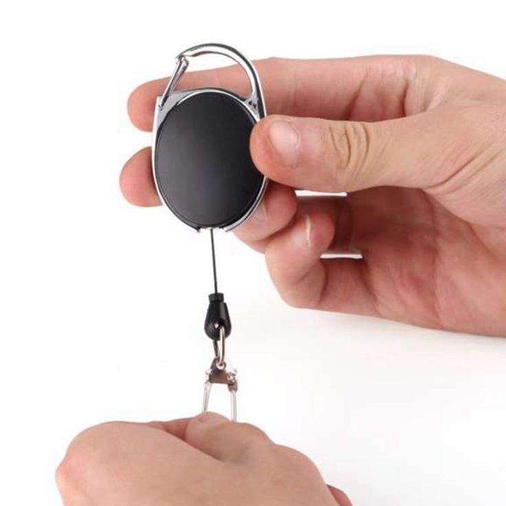 KAWO Fly Fishing Tackle Boxes Retractor Tools Badge Holder Retractable Key Chain Key Ring Reel Carabiners Clip Nylon Cord