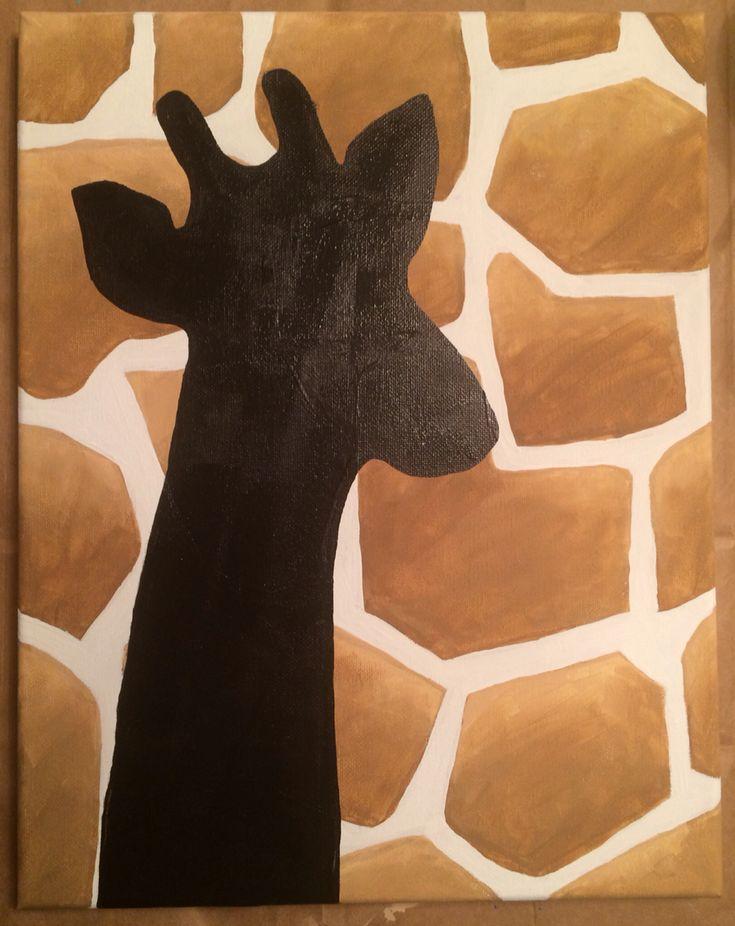 Giraffe canvas painting silhouette