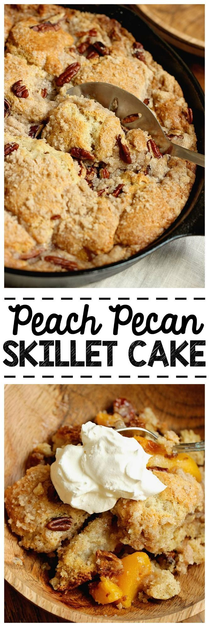 Easy Peach Pecan Skillet Cake - A simple and comforting peach dessert with some surprising ingredients in the batter that make this cake divine!
