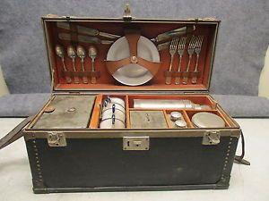 211 best picnic baskets vintage images on pinterest picnic 1920s era automobile 4 person picnic complete set case antique watchthetrailerfo