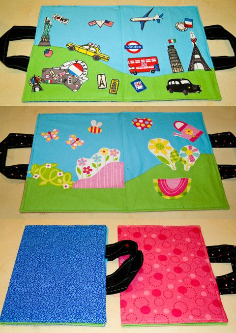 Travel felt Boards.  Tutorial here: http://mayamade.blogspot.com/2010/08/summer-camp-castle-peeps-diy-travel.html