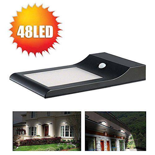 850 Lumens 48 Led Solar Motion Lights, Ultra-slim Wireless Solar Lights/ Street Lighting / Outdoor Lights / Motion Security Lights - With Rechargeable 18650 Batteries (4400mah) Hallomall™ http://www.amazon.com/dp/B00PZNX0KE/ref=cm_sw_r_pi_dp_0548ub0HA2MH8