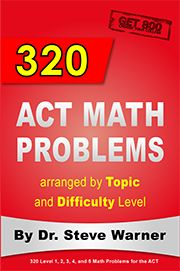 320 ACT Math Problems. Available on Amazon: http://www.amazon.com/Problems-arranged-Topic-Difficulty-Level/dp/1508668752/ref=sr_1_1?ie=UTF8&tag=drstssamaprpa-20&qid=1425297553&sr=8-1&keywords=act+math