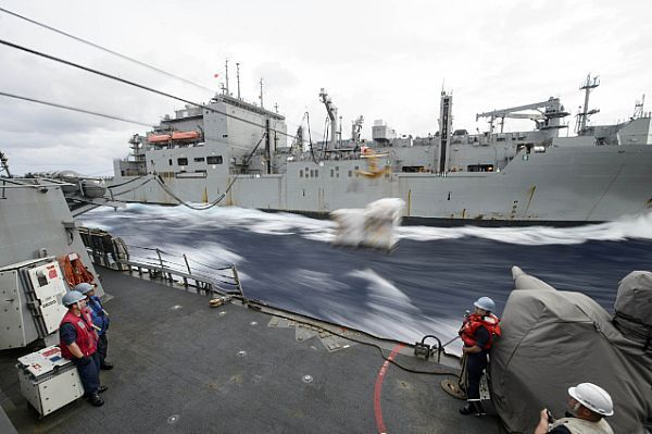 Sailors assigned USS Curtis Wilbur (DDG 54) wait on station as USNS Matthew Perry (T-AKE 9) sends stores during a connected replenishment.