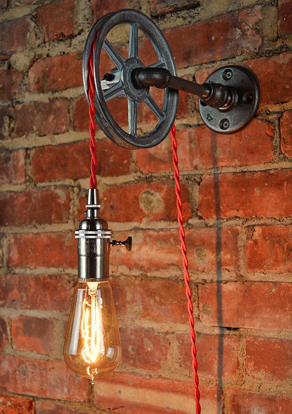 Wall Pulley Light - Vintage Industrial Cast Iron - 1-Wheel - Wall Pulley Pendant…