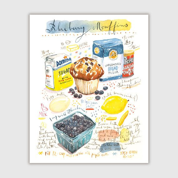 Blueberry Muffin Recipe Print, Illustrated Recipe Painting, Watercolor  Muffin Poster, Kitchen Wall Art, Food Print, Home Decor, Bakery Print