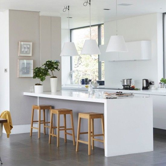 Like the simple white island with overhang breakfast bar, and like the wood stools against the white.