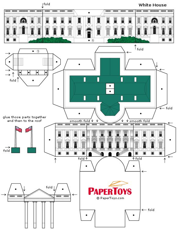 Paper model of the White House  This site also has many other free paper models to print and make.