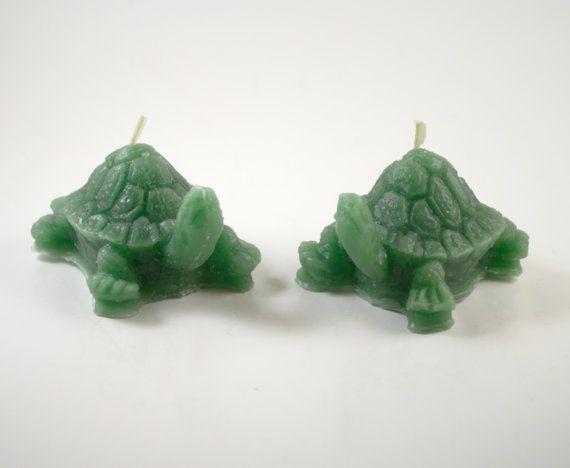 Set di 2 Mini tartaruga di cera d'api candele di GlowliteCandles