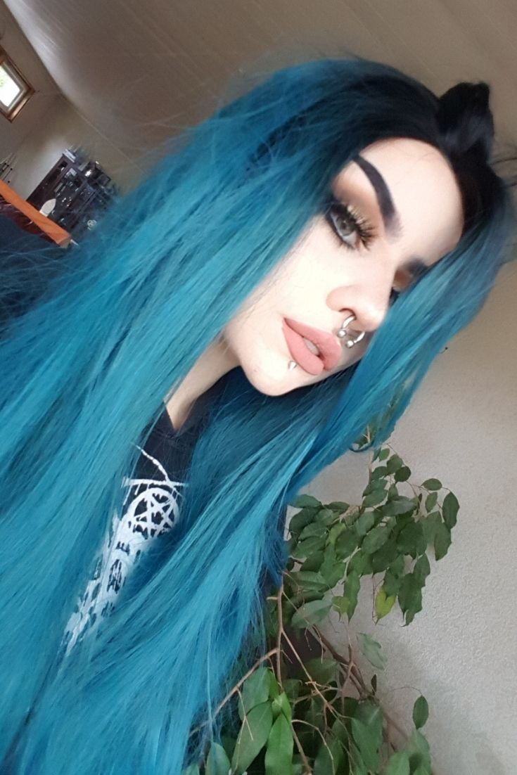 Sea Blue Straight Hair With Black Root Do You Love This Style Seablue Bluehair Syntheticwigs Lacefro Light Blue Hair Frontal Hairstyles Gothic Hairstyles