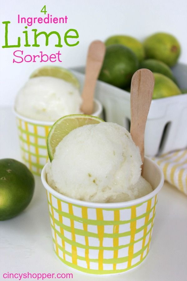 4 Ingredient Lime Sorbet Recipe- Super simple and full of flavor. Great to enjoy after a heavy meal. Plus great for a refreshing treat!