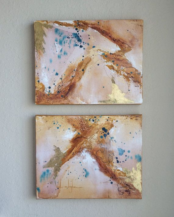 Madagascar Original abstract artwork. Acrylic, thread (various colors) and gold leaf on canvas.  Dimensions (together): 14 x 22 Dimensions (individual canvas): 11 x 14  All paintings have been finished with gloss varnish to protect against fading. *No hanging hardware included.