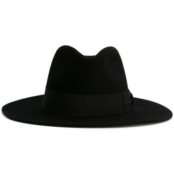 Saint Laurent Fedora Hat found on Polyvore featuring accessories, hats, black, fedora hat, fur fedora, band hats, fur hat and brimmed hat