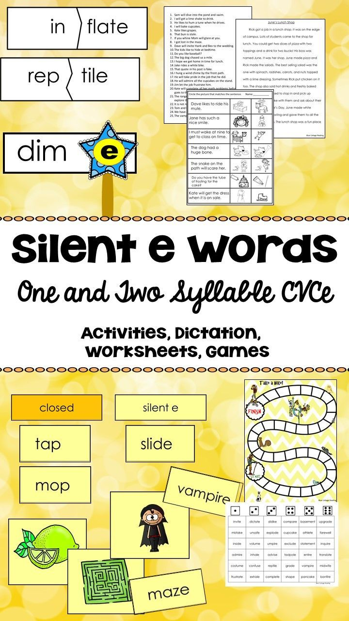 This Activity Pack Provides Resources To Teach Silent E Words Both One Syllable And Multisyllabic Words Are Covered Work Magic E Phonics Instruction Syllable