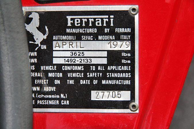 1979 Ferrari 308 GTS Serial Number 27705-Manufacturer's plate