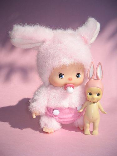 Baby Monchichi & Sonny Angel bunny, total cuteness overload!