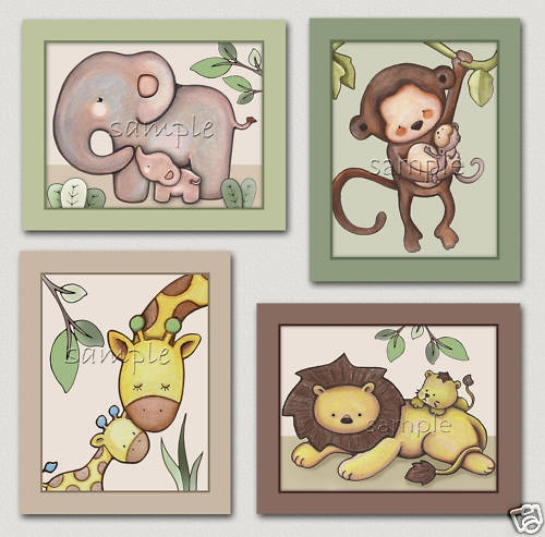 Baby love.Jungle Animal nursery art. elephant,monkey