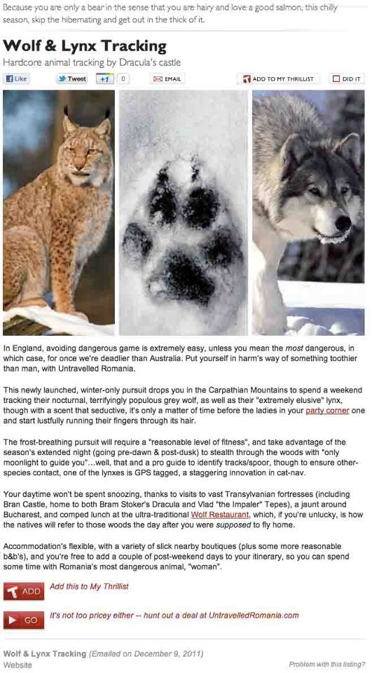 Wolf and Lynx Tracking. Thrillist London, 9th December 2011.  untravelledpaths.com
