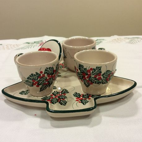 tete a tete Christmas holly decoration Italian ceramics