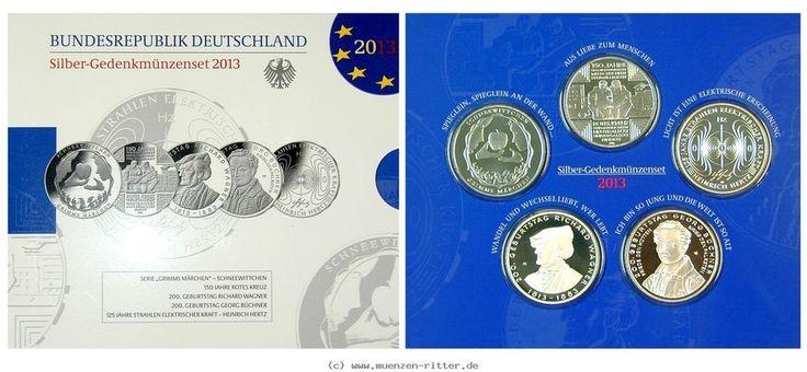 RITTER BRD, 5 x 10 Euro 2013,Schneewittchen,Rotes Kreuz,Wagner,Büchner,Hertz, PP #coins