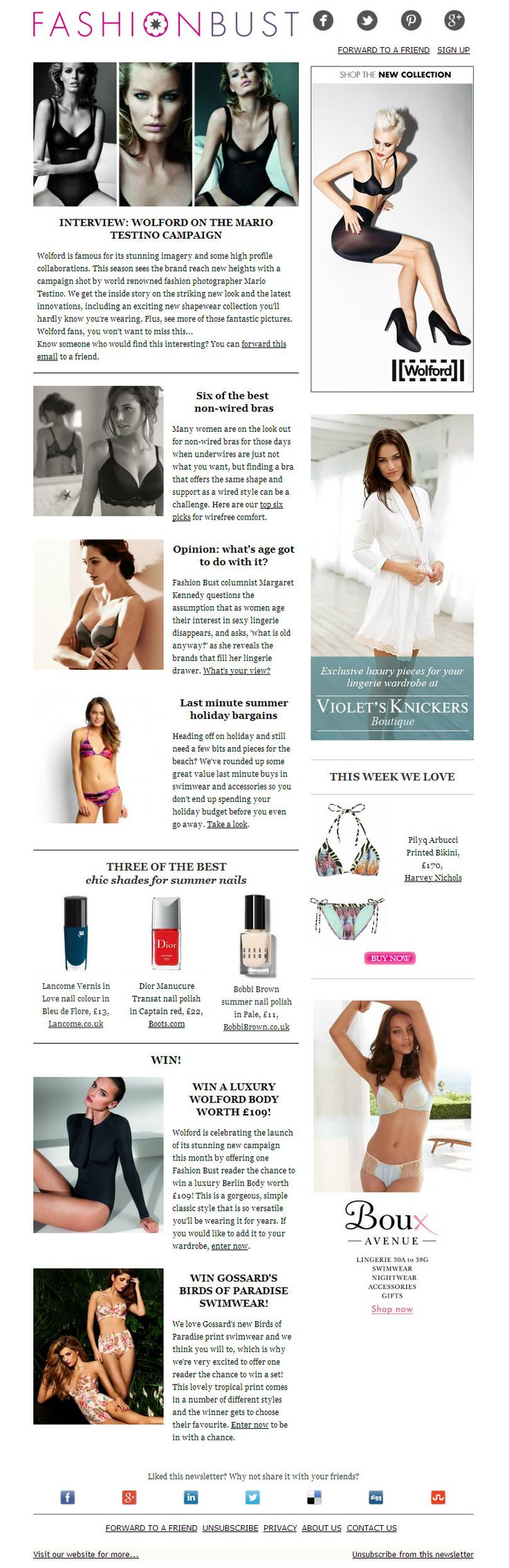 The story of the Mario Testino shoot for Wolford; six of the best non-wired bras; age and lingerie; last minute holiday bargains: http://fashionbust-news.com/1ORR-2NO9D-589FATOWAC/cr.aspx?v=1