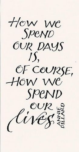 """How we spend our days is, of course, how we spend our lives.""  ~ by Annie Dillard"